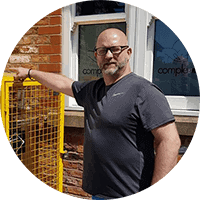 Cryotherapy products director in front of cryocenter Altrincham