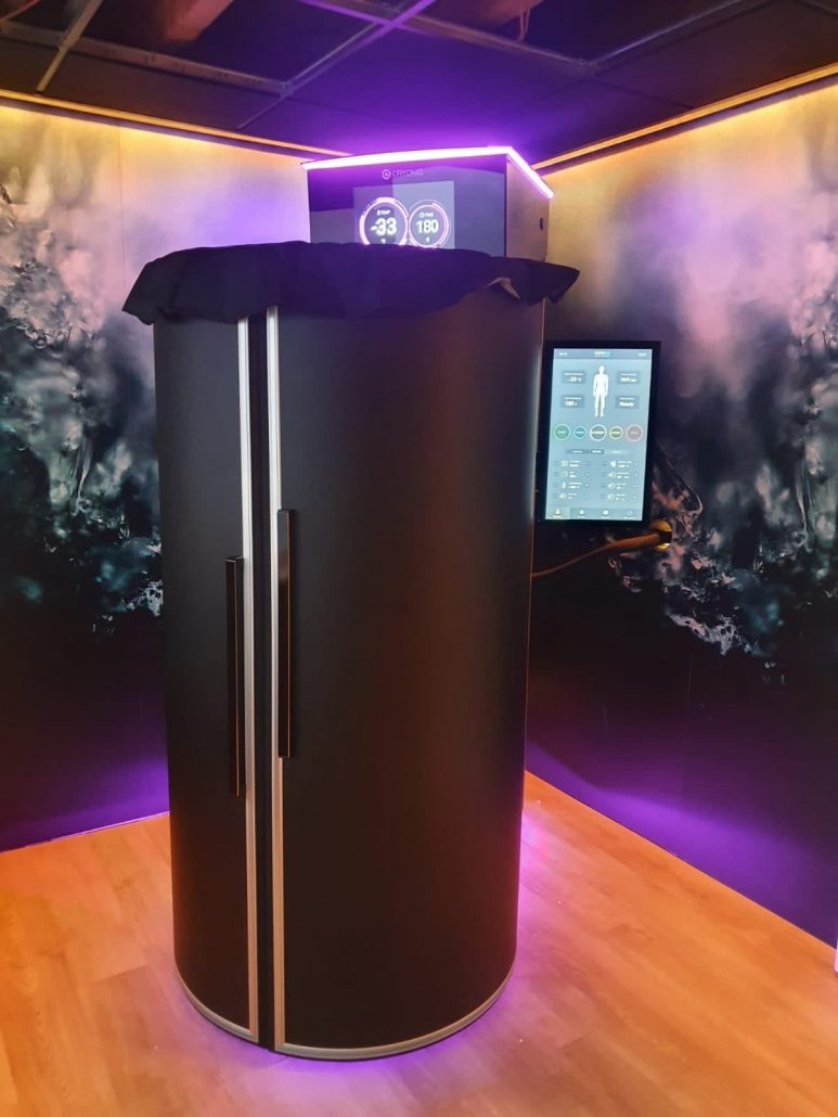 Cryotherapy machine in Netherlands with lights on