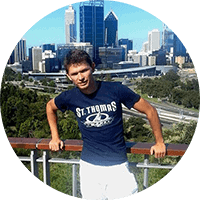 Cryotherapy manufacturing director in front of skyline in Perth, Australia